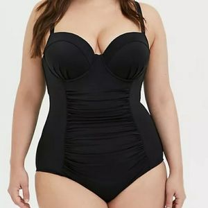 Torrid One piece strappy black swimsuit